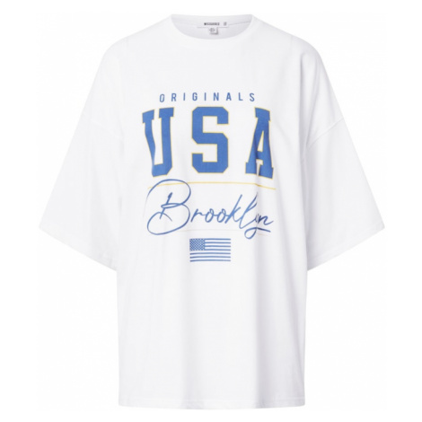 Missguided Koszulka oversize 'Brooklyn' biały / niebieski