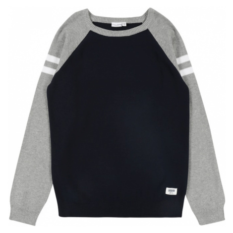 NAME IT Sweter biały / nakrapiany szary / czarny