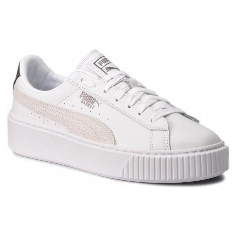 Sneakersy PUMA - Basket Platform Euphoria Metal 367850 01 Puma White/Puma Aged Silver