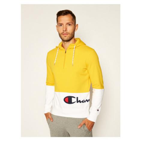 Champion Bluza Half Zip-Up Colour Block Wraparound Logo Hoodie 214205 Żółty Comfort Fit