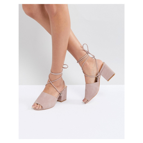 Public Desire Paddington Pink Tie Up Block Heeled Sandals