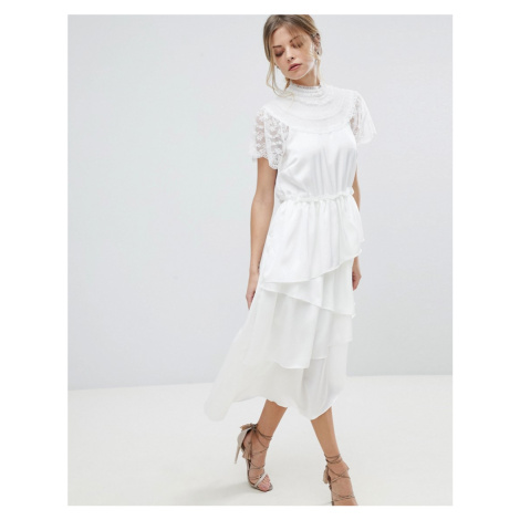 Y.A.S High Neck Lace Midi Dress With Asymetric Hem