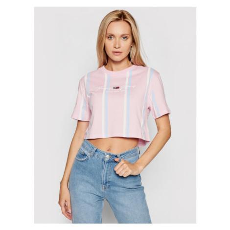 Tommy Jeans T-Shirt Tjw Stripe 2 DW0DW10962 Różowy Cropped Fit Tommy Hilfiger