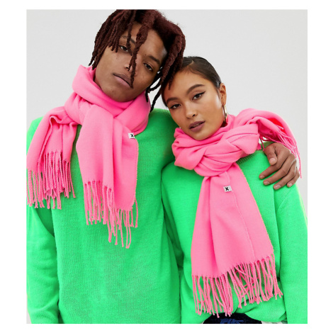 COLLUSION Unisex blanket scarf in neon pink