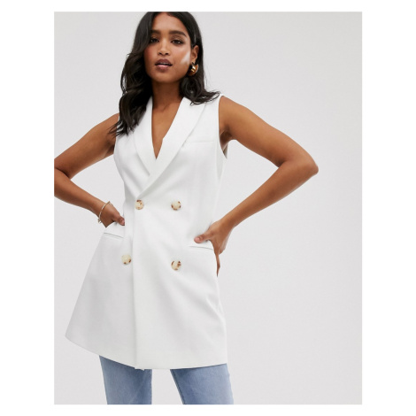 Stradivarius double breasted waistcoat blazer dress in white