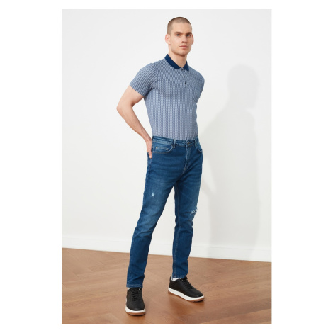 Trendyol Indigo Męskie Zgrywanie Szczegółowe Regularne Talia Carrot Fit Jeans