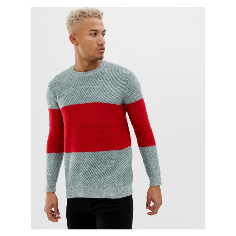 Pull&Bear colour block jumper in grey and red Pull & Bear