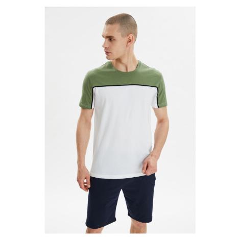 Modyol Khaki Męskie Paski na szyję t-shirt Trendyol