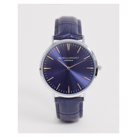 Mr Beaumont leather watch in navy