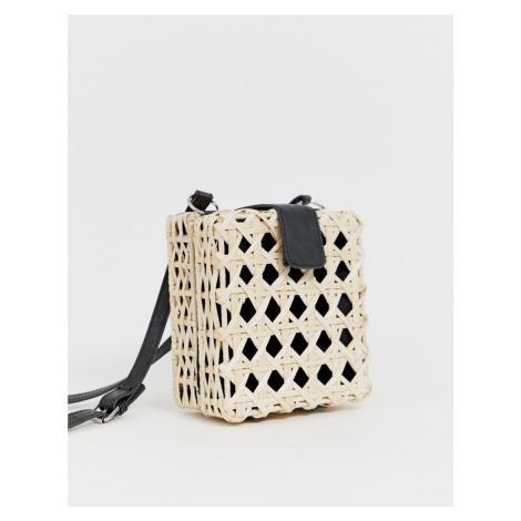 ASOS DESIGN natural open weave straw cross body bag