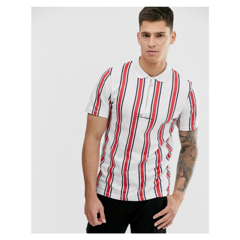 River Island polo shirt with red & white stripes