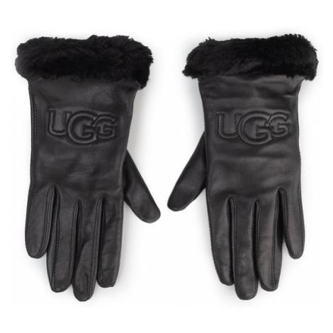 Ugg Rękawiczki Damskie W Classic Leather Logo Glove 19034 Czarny