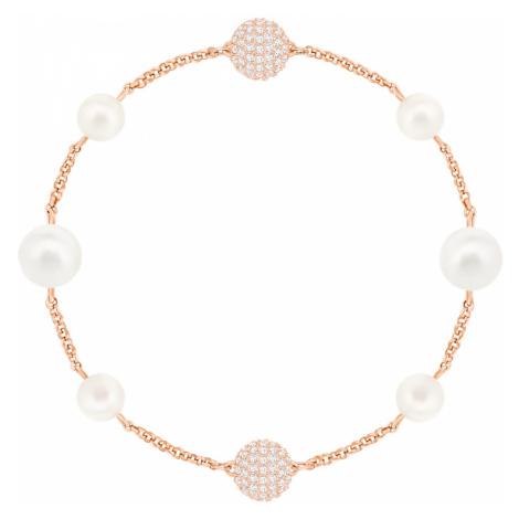 Łańcuszek z okrągłą perłą z kolekcji Swarovski Remix, biały, w odcieniu różowego złota