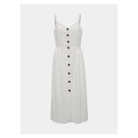 Vila biała midi sukienka w kratę Kastanja