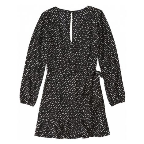 Abercrombie & Fitch Letnia sukienka 'XM19-WRAP LACE PIECED PRINT DRESS 2CC' czarny