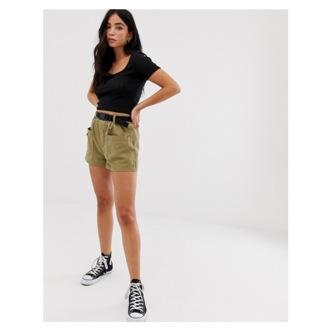 New Look utility short with belt in khaki