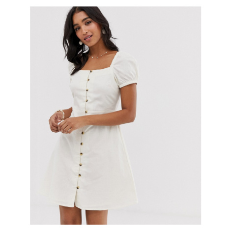 Warehouse linen dress with puff sleeves in cream
