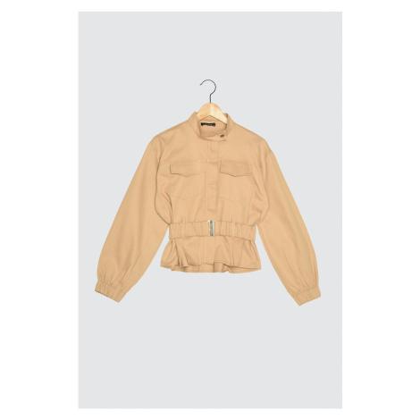 Modyol Beżowa kurtka z paskiem Trendyol