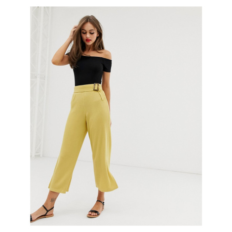 ASOS DESIGN wide leg culotte in textured rib with tortoiseshell buckle