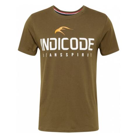 INDICODE JEANS Koszulka oliwkowy / biały / żółty