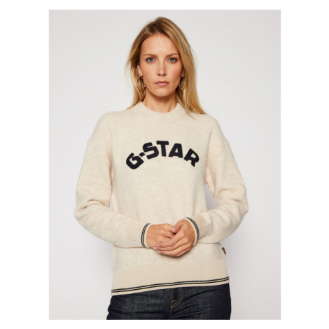 G-Star RAW Sweter College D17750-C459-1603 Beżowy Loose Fit