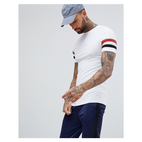 ASOS DESIGN muscle fit t-shirt with stretch and sleeve stripe in white