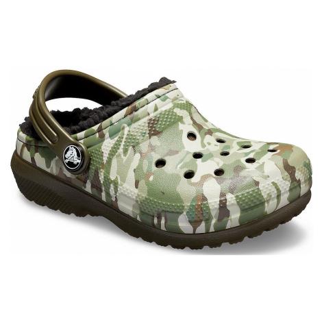 buty dziecięce Crocs Classic Fuzz Lined Graphic Clog - Dark Camo Green/Black