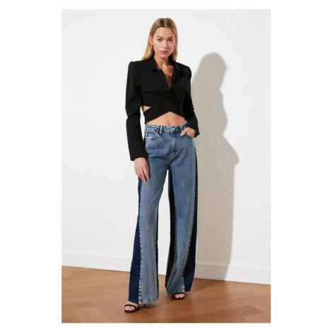 Trendyol Blue Color Block High Waist Wide Leg Jeans