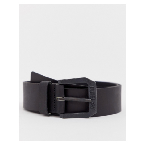 Replay leather belt in black