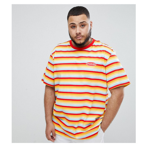 Puma Plus organic cotton t-shirt in retro stripe in orange Exclusive at ASOS