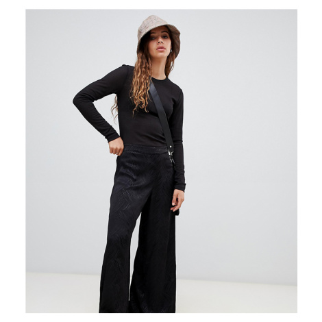 Weekday wide leg jacquard trousers in black