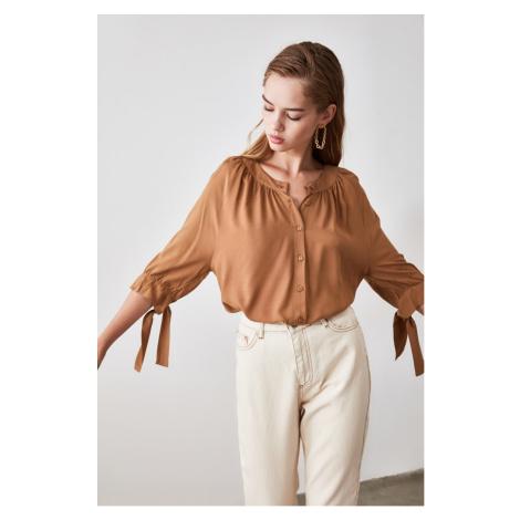 Trendyol Camel Button Detailed Shirt