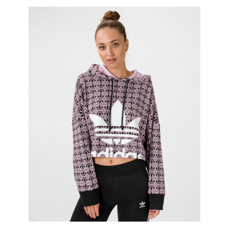 adidas Originals Trefoil Allover Crop top Różowy Beżowy