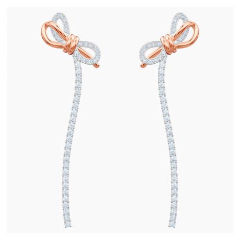 Kolczyki sztyftowe Lifelong Bow, białe, różnobarwne metale Swarovski