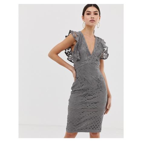 Girl In Mind frill sleeve midi dress