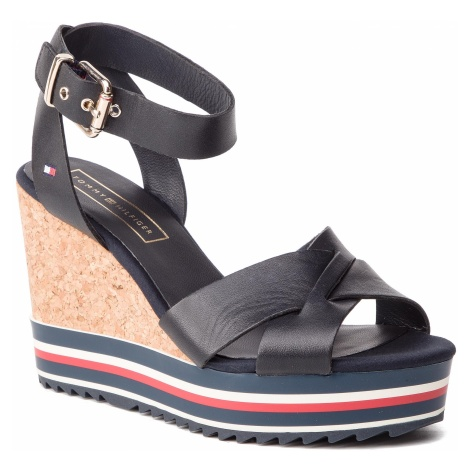 Sandały TOMMY HILFIGER - Colored Stripes Wedge Sandal FW0FW04054 Midnight 403