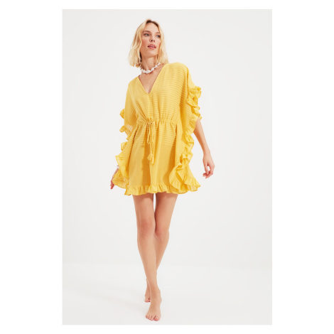 Trendyol Yellow Striped Rustic Kimono & Kaftan