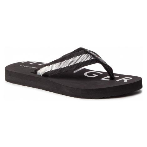 Japonki TOMMY HILFIGER - Flat Beach Sandal Hilfiger Print FW0FW03887 Black 990