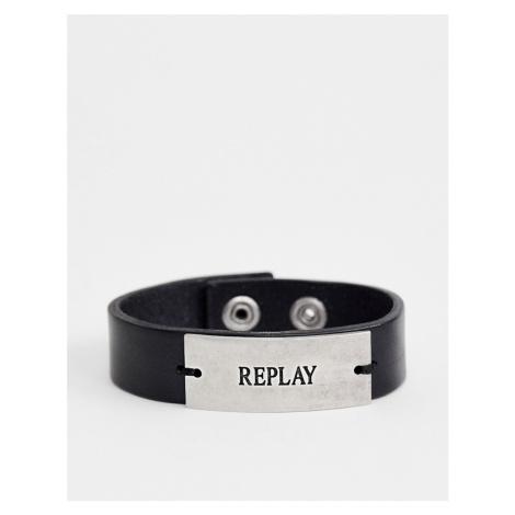 Replay logo leather plaque cuff bracelet in black
