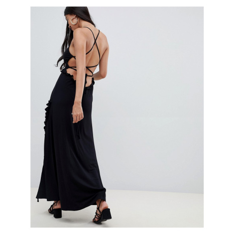 ASOS DESIGN lace up maxi dress with ladder trim
