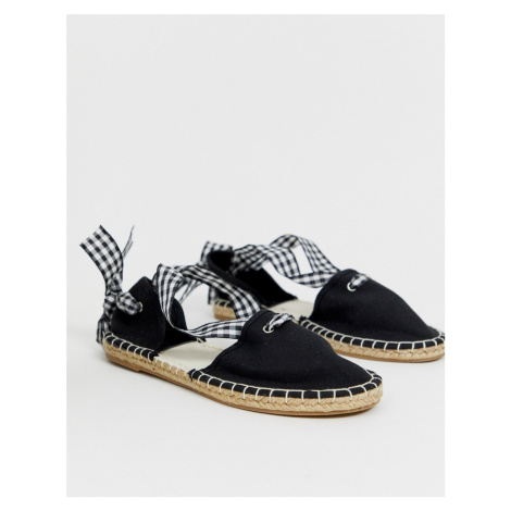 South beach espadrille with gingham tie