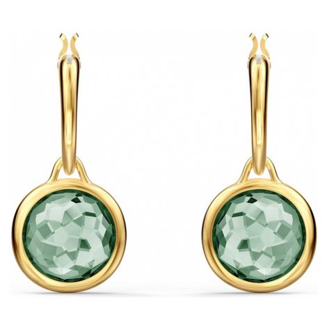 Sztyftowe kolczyki koła Tahlia Mini, zielone, w odcieniu złota Swarovski