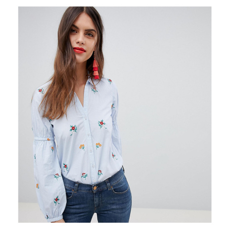 Esprit Embroidered Floral Stripe Shirt