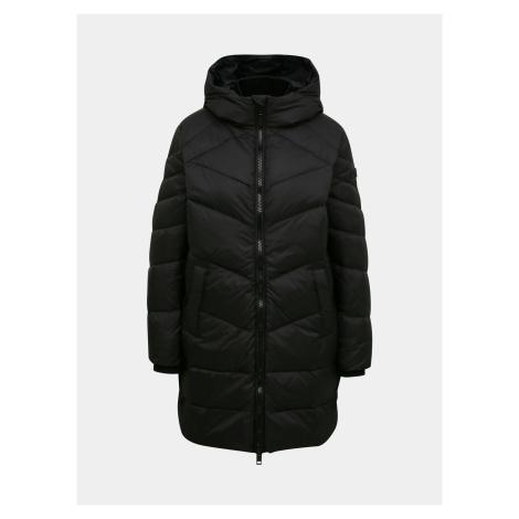Czarny zimowy pikowany płaszcz damski Diesel