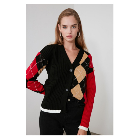 Trendyol Red Plaid Color Block Knitwear Cardigan