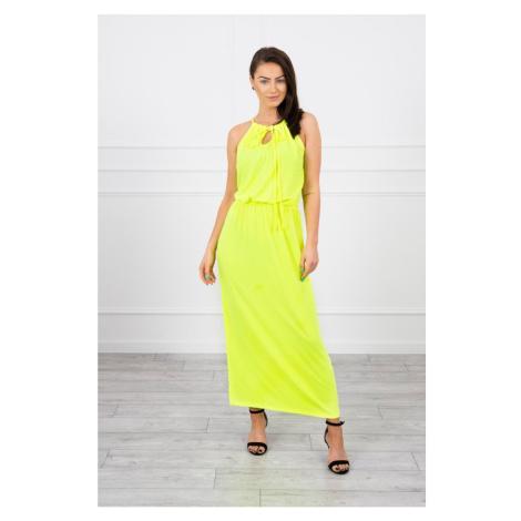 Sukienka boho z żółtą neonem