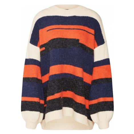 OBJECT Sweter oversize 'FIA ' niebieski / ciemnopomarańczowy / biały