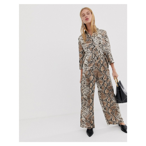 Pieces snake print wide leg trousers