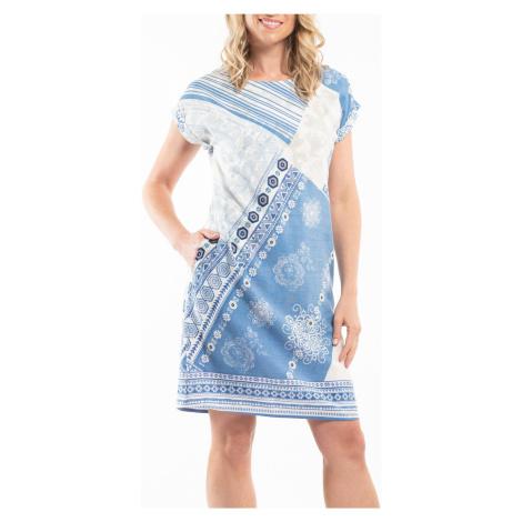 Orientique niebiesko-biała sukienka Corfu na krótki rękaw