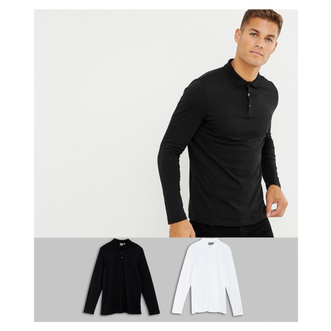 ASOS DESIGN 2 pack long sleeve jersey polo save